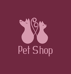 Cute pet shop logo with cat and dog vector image