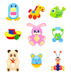 Cute soft and plastic toys isolated vector