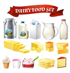 Dairy products food set vector image