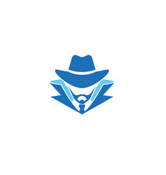 detective head sheriff beard logo vector image