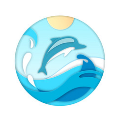 dolphin jumping out of the water cut out paper vector image