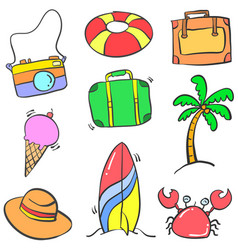 doodle of object summer cartoon style vector image