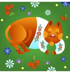 Fabulous red cat vector