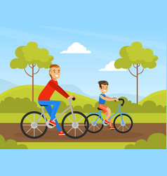 father and son riding bicycle in park outdoor vector image