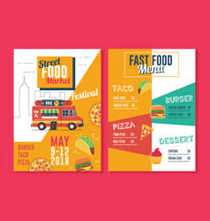food truck flyer and menu template street food vector image