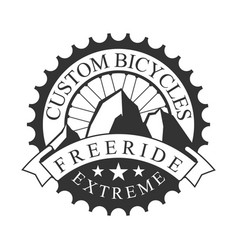 Freeride extreme custom bicycles vintage label vector