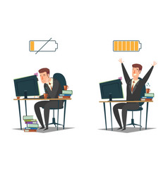 full energy and tired business people vector image