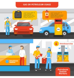 Gas Station Workers Banners Set vector image