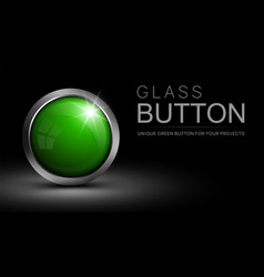 Glass green button vector