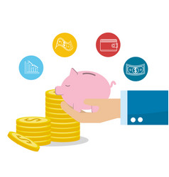 Gold coins with save pig in the hand vector