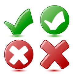 Green Checkmark and Red Cross Symbols vector image
