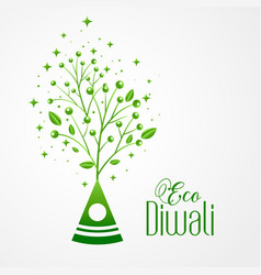 Green crackers eco friendly happy diwali concept vector