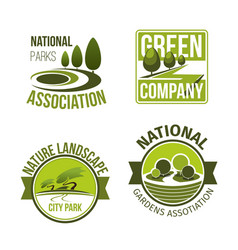 green nature landscape design icons set vector image