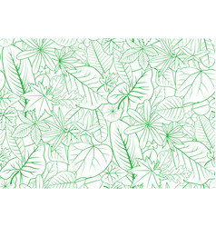 green outline leaves backdrop seamless for nature vector image