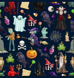 halloween holiday monsters seamless pattern vector image