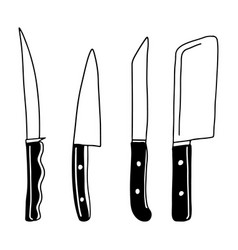 hand drawn doodle kitchen knives different types vector image