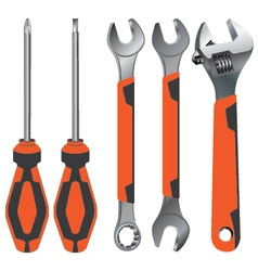 Hand tool wrench and screwdriver on a orange and vector