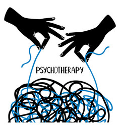 Hands and tangled thread psychotherapy image vector