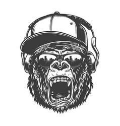 hipster gorila face vector image