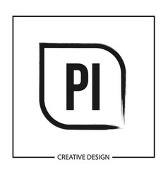 Initial pi letter logo template design vector