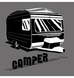 Isolated Hand Drawn doodle Camper vector