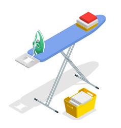 isometric iron ironing board and laundry basketf vector image