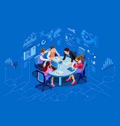 Isometric people team management concept vector