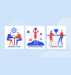 Job competition concept colorful banner vector