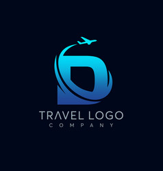 Letter d tour and travel logo design vector