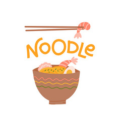 lettering noodle print design with a noodle plate vector image