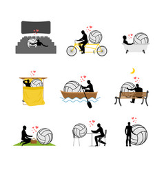 lover volleyball set man and ball in movie vector image