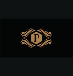 Luxury logo template in for restaurant royalty vector