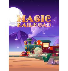 magic railroad cartoon poster steam train riding vector image