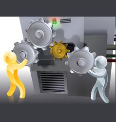 Mascots setting machine vector