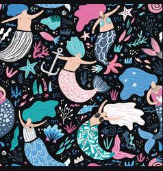 mermaid flat hand drawn seamless pattern vector image