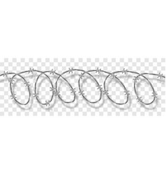 Metal steel barbed spiral wire with thorns spikes vector