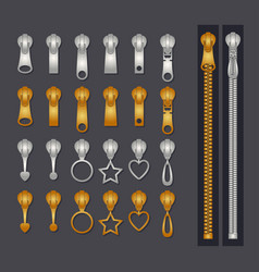 metallic zippers set gold and silver zip fastener vector image
