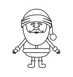 Monochrome contour of santa claus waiting for hug vector