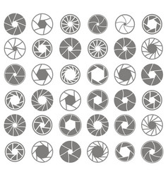 monochrome icons with camera shutter symbols vector image