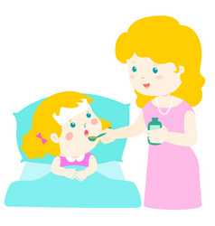 Mother giving daughter medicine vector