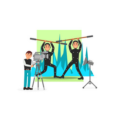 Movie operator and actors entertainment industry vector