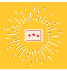 Movie ticket icon shining Flat design vector