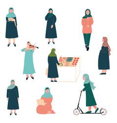 Muslim woman lifestyle set modern arab girls vector