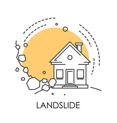 Natural disaster landslide isolated icon stones vector