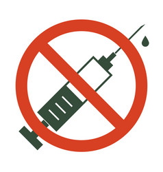 no drugs allowed syringe with forbidden sign vector image