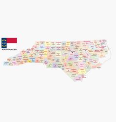 North carolina administrative and political map wi vector