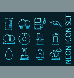 oil industry set icons blue glowing neon style vector image
