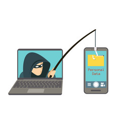 Phishing scam hacker attack on smartphone vector