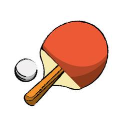 Ping pong racket and ball image vector