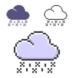 Pixel icon rain with snow in three variants vector